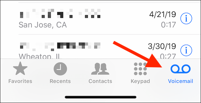 Tap on the Voicemail tab in Phone app to view voicemails