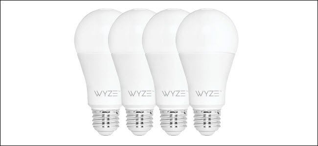 Four Wyze bulbs in a row