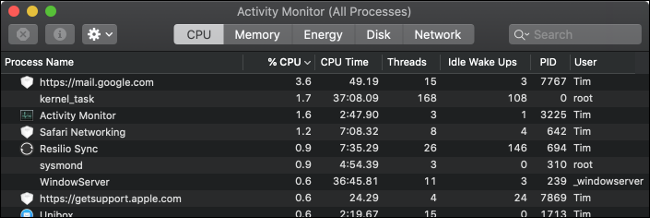 The macOS Activity Monitor.