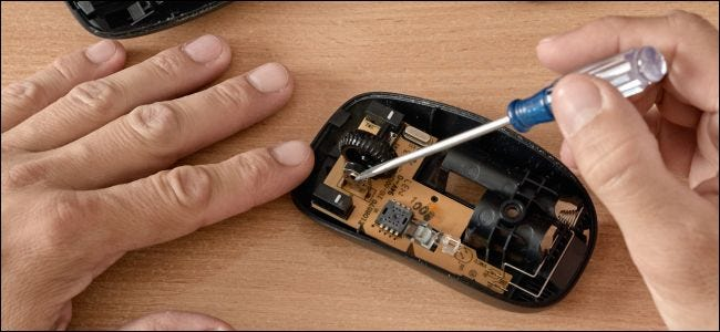 Repairing the internals of a computer mouse