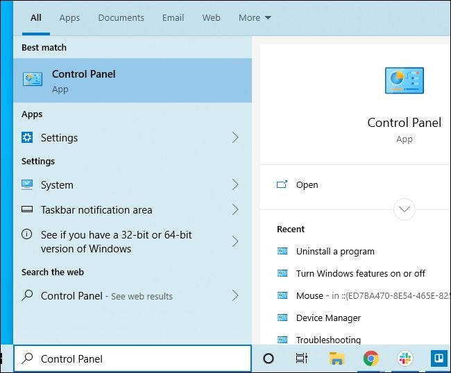 Launching the Control Panel from Windows 10's Start menu