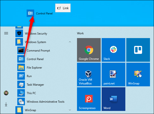 Creating a desktop shortcut to the Control Panel on Windows 10