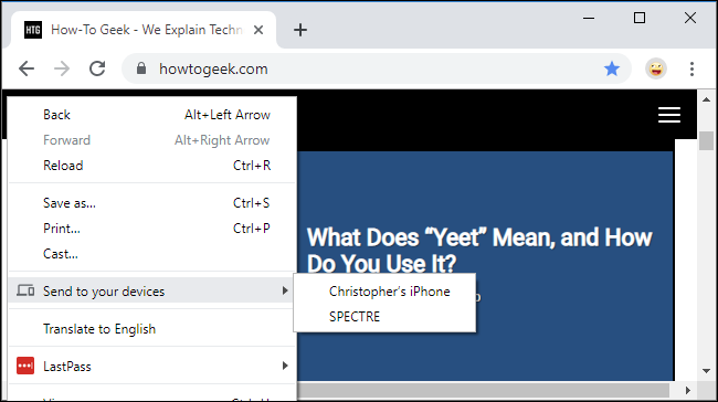 """The """"Send to your devices"""" menu in Google Chrome"""