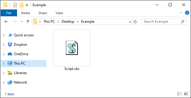 A VBScript file in File Explorer