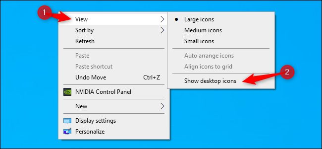 """Click """"View,"""" and then click """"Show Desktop Icons."""""""