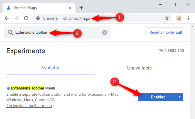 Enabling Chrome's new Extensions toolbar menu on the flags page