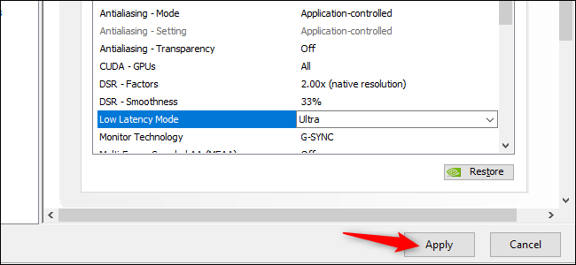 Activating Ultra Low Latency Mode in NVIDIA's GeForce graphics drivers