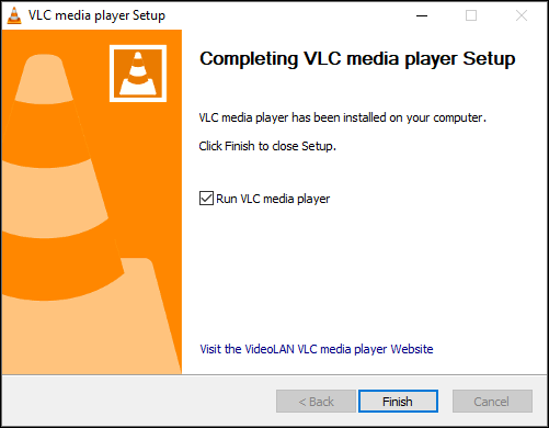 Launching VLC after an installation