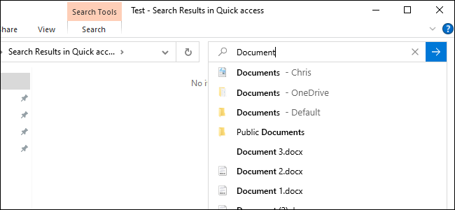 Windows 10's File Explorer searching online files.
