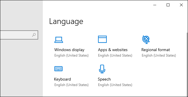 New language option icons in Windows 10's Settings app.