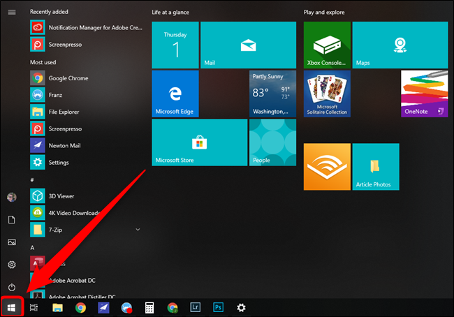 Microsoft Windows 10 Start Menu Button