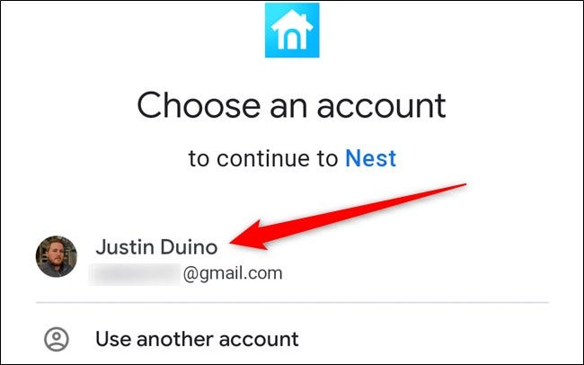 Nest App Select your Google Account