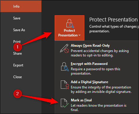 protect the presentation