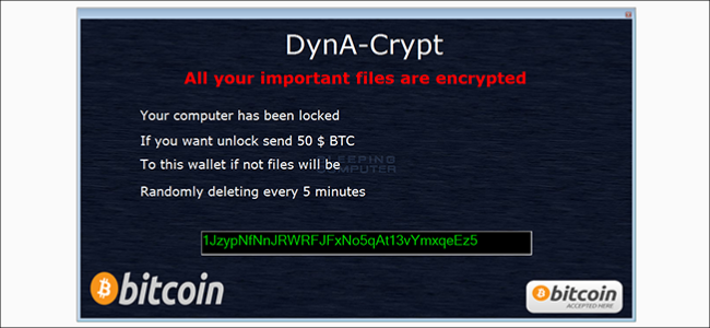 A ransomware alert screen.