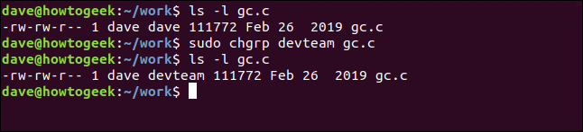 sudo chgrp devteam gc.c in a terminal window