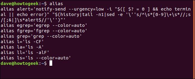 alias in a terminal window