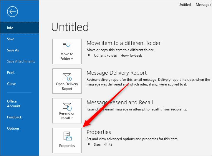 Botón Propiedades de Outlook para un correo electrónico individual.