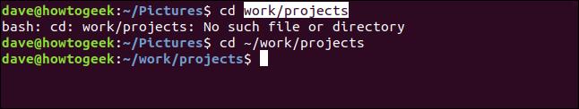 ventana de terminal con un directorio cambiado logrado mediante copiar y pegar
