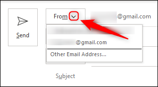 """Click """"From"""" and select the email account you want to use from the drop-down menu."""