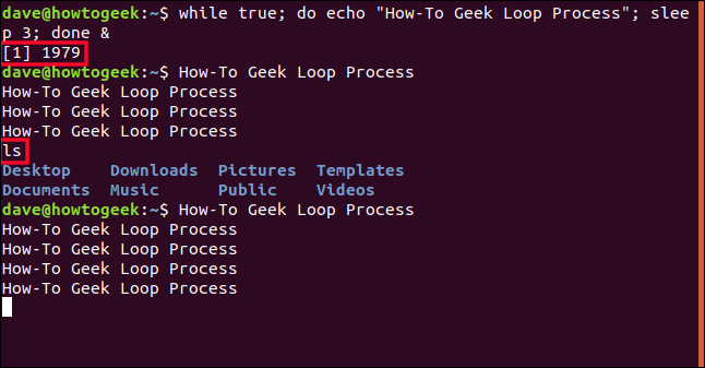 output of the background loop process interspersed with output from other commands