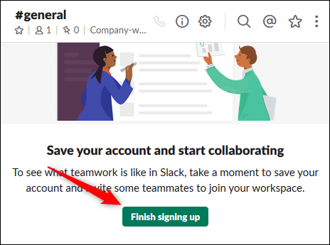 "The ""Finish signing up"" button."