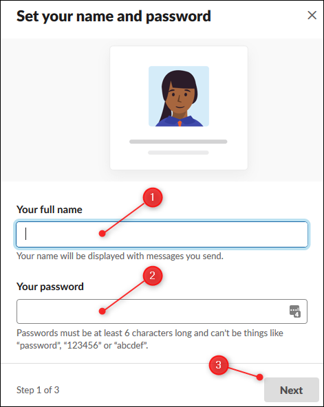 The textboxes to enter your name and password.