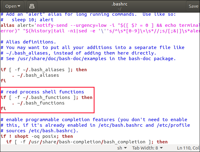 gedit with .bashrc loaded and a new .bash)_functions section highlighted