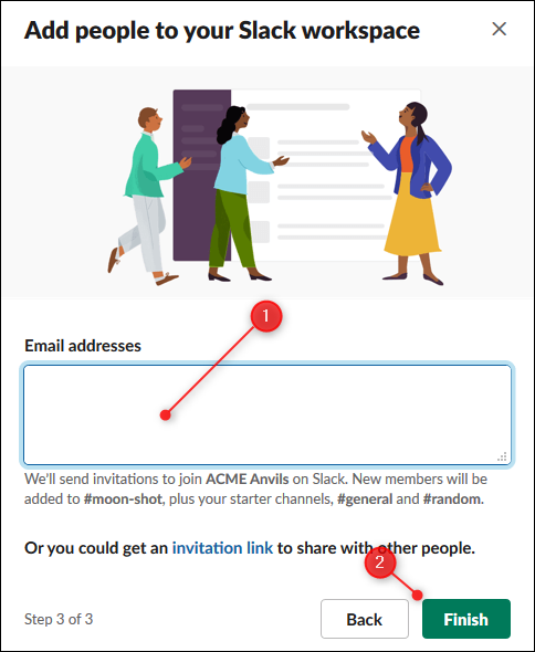 The option to enter email addresses of people to invite, and the Finish button.