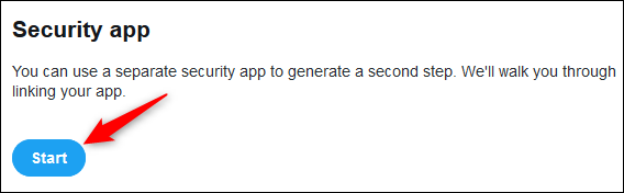 "The ""Security app"" Start button."