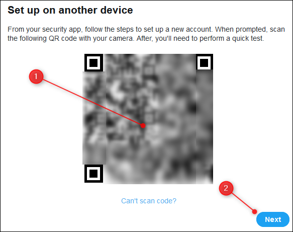 The QR code, and the Next button.