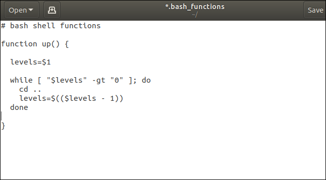 The up() Bash shell function in gedit
