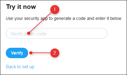 A textbox to enter the verification code, and the Verify button.