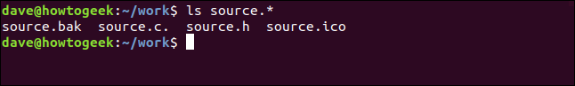 "An ""ls source.*"" command in a terminal window."