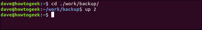 cd ./work/backup/ in a terminal window