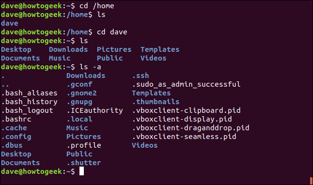 cd /home and other commands to test the /home firectory in a terminal window