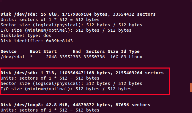 Output from fdisk in a terminal window with /dev/sdb highlighted