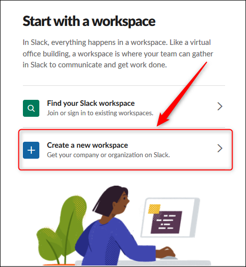 "The ""Create a new workspace"" option."