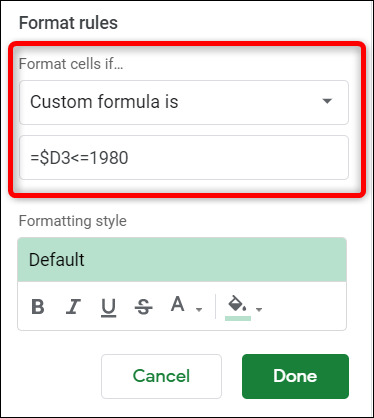Type in your formula that you want to use to search for data. Be sure to use the dollar sign before the column letter. This makes sure the formula only parses the column specified.