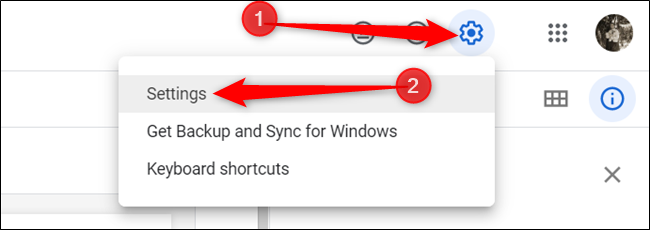 """Haga clic en la rueda dentada Configuración y luego haga clic en """"Configuración""""."""