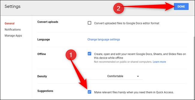 """Habilite el acceso rápido marcando la casilla junto a """"Haga que los archivos relevantes estén a mano cuando los necesite en Acceso rápido""""."""