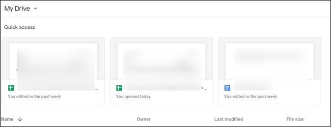 Ejemplo que muestra el acceso rápido habilitado y archivos sugeridos en la parte superior de la página.