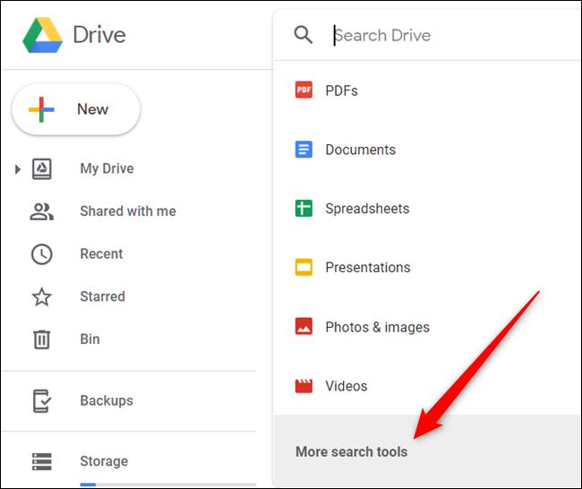 """Haga clic en el cuadro de búsqueda y luego en """"Más herramientas de búsqueda"""" para refinar la búsqueda aún más."""