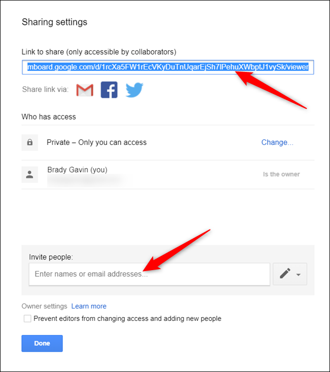 Copy the sharable link or enter the name or email of collaborators in the text field below.