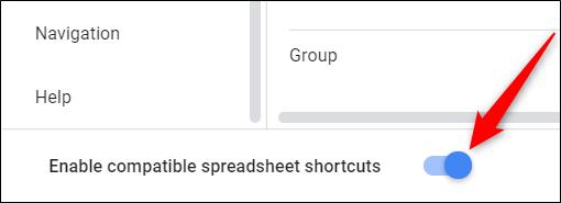 """Haz clic en el botón que se encuentra junto a """"Habilitar métodos abreviados de teclado de hojas de cálculo compatibles"""" para activar."""