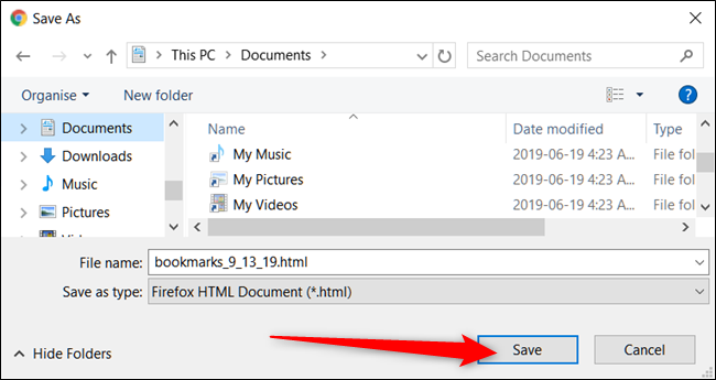 "Navigate to a safe folder, and click ""Save."""