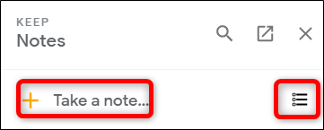 Create a new note with either of the two icons at the top.