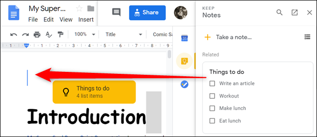 Alternatively, drag and drop the note from the pane directly into your document.