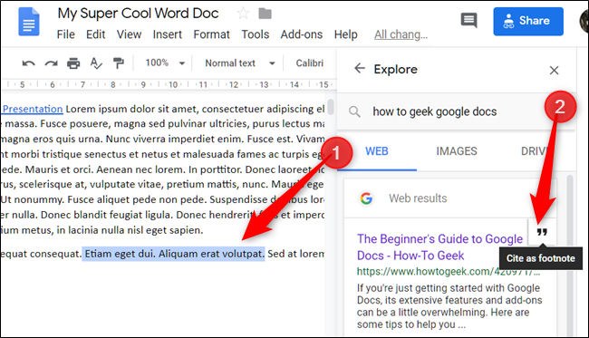 Highlight some text or place the cursor where you want to cite something, and then click the quotations icon that appears when hovering over a link.