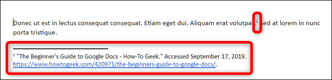 Google docs automatically places a superscript number at the cursor and places the source in a footnote in the style of citation you chose.