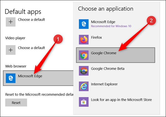 Under Web Browser, click the current default, and then click on Google Chrome from the list that appears.